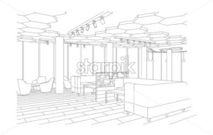 Outline sketch of a modern cafe with sofa and tables with large windows. Vector - Starpik Stock