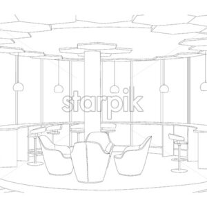 Outline sketch of a modern cafe with sofa and tables. Large windows and lights. Vector - Starpik Stock
