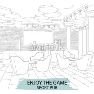 Outline sketch of a modern sport pub with big chairs and tv on wall. Vector - Starpik Stock