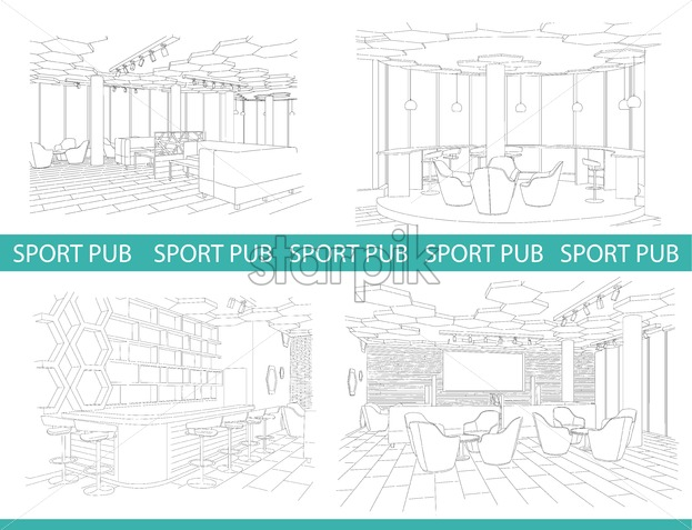 Outline sketch set of a modern sport pub with big chairs and tv on wall. Vector - Starpik Stock