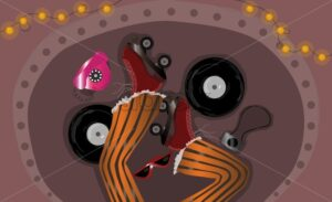 Overhead shot of orange pants with rollers on the feet and sunglasses, camera, pink phone, vinyls. Abstract dreaming idea. Vector - Starpik Stock