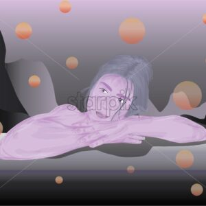 Pink skin colored girl dreaming about something. Abstract background. Vector - Starpik Stock