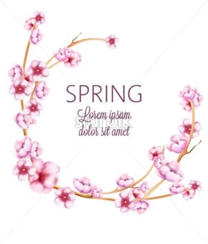 Pink spring wreath with watercolor blossom flowers with green leaves. Vector - Starpik Stock