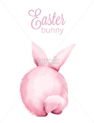 Pink watercolor fluffy easter bunny from behind. Holiday symbols Vector - Starpik Stock