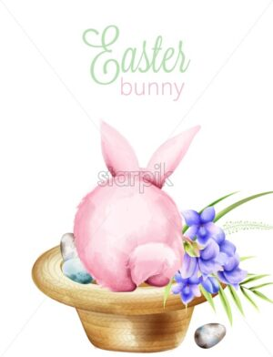 Pink watercolor fluffy easter bunny sitting on a hat with lily flowers and colorful eggs. Holiday symbols Vector - Starpik Stock