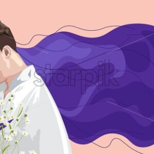 Romantic composition of young couple smiling at each other. Girl with long lavender color hair. Holding chamomile flowers. Place for text. Love Day vector - Starpik Stock
