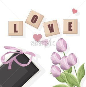 Romantic composition with love written with cubes. Gift box, hearts and flowers. 14 february vector. - Starpik Stock