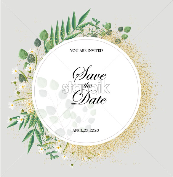 Romantic invitation card with leaves and chamomile flowers. Place for text. Love day Vector - Starpik Stock
