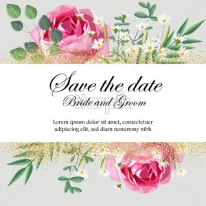 Romantic invitation card with rose, chamomile flowers and leaves. Place for text. Love day Vector - Starpik Stock