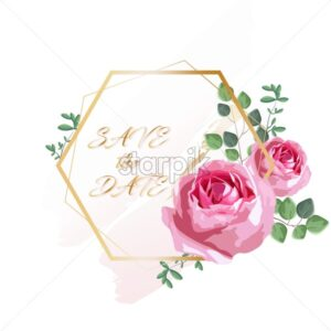 Romantic invitation card with rose flowers and leaves. Hexagon shape. Vector - Starpik Stock