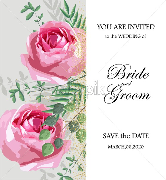 Romantic invitation card with rose flowers and leaves. Place for text. Love day Vector - Starpik Stock