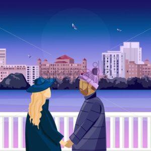 Romantic scene of a mature couple on bridge. Preparing to kiss. Pink colored background with city and flying birds. Love day vector - Starpik Stock