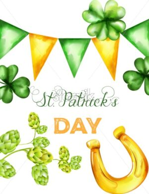 Saint Patrick's Day vector with green and yellow triangle buntings, shamrock sprig and artichoke. Holiday vector - Starpik Stock