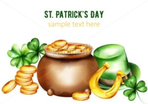 Saint Patrick's Day watercolor ceramic pot with gold coins. Green hat, shamrock and horseshoe. Holiday vector - Starpik Stock