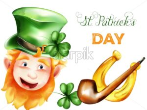 Saint Patrick's Day watercolor elf with ginger beard, golden horseshoe, smoking pipe, green hat and shamrock. Holiday vector - Starpik Stock