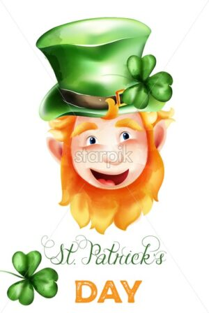 Saint Patrick's Day watercolor elf with ginger beard, green hat and shamrock. Holiday vector - Starpik Stock