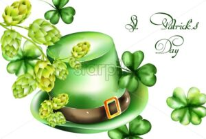 Saint Patrick's Day watercolor green hat and shamrock sprig, artichoke decorations. Holiday Vector - Starpik Stock