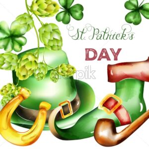 Saint Patrick's Day watercolor green hat, shamrock sprig, artichoke, golden horseshoe and elf boots decorations. Holiday Vector - Starpik Stock