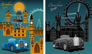 Set of London city at night with famous city landmarks, big ben, millennium wheel. Line art. Vector - Starpik Stock