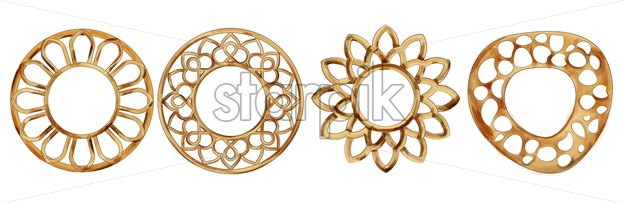 Set of Watercolor circle and flower shaped frames. Golden color. Vector - Starpik Stock