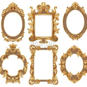 Set of Watercolor circle, square and flower shaped frames. Golden color. Vector - Starpik Stock