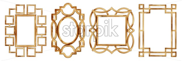 Set of Watercolor square and flower shaped frames. Golden color. Vector - Starpik Stock