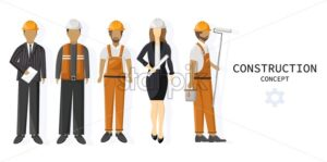 Set of a team of construction workers. Painters, architects, workers, landlord - Starpik Stock