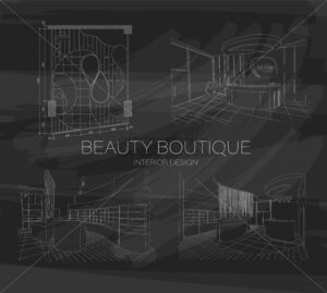 Set of beauty boutique interior outline sketch with modern design. Place for text. Vector - Starpik Stock
