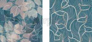 Set of floral ornaments pattern and fluid lines design. Green and rose color. Vector - Starpik Stock