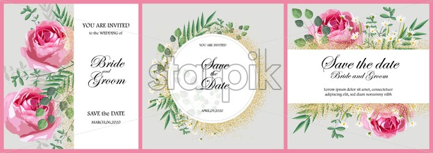 Set of romantic invitation cards with rose flowers, green leaves and chamomile. Love Day vector - Starpik Stock