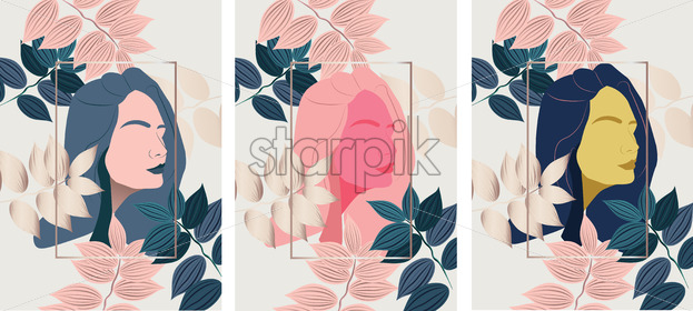 Silhouette of a girl without eyes. Sensual woman. Set with different palette of colors. Floral ornaments. Vector - Starpik Stock