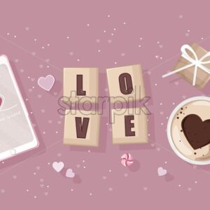 Smart phone with romantic day composition. Gift boxes, coffee with heart shape gift boxes and other decorations. Love Day vector - Starpik Stock