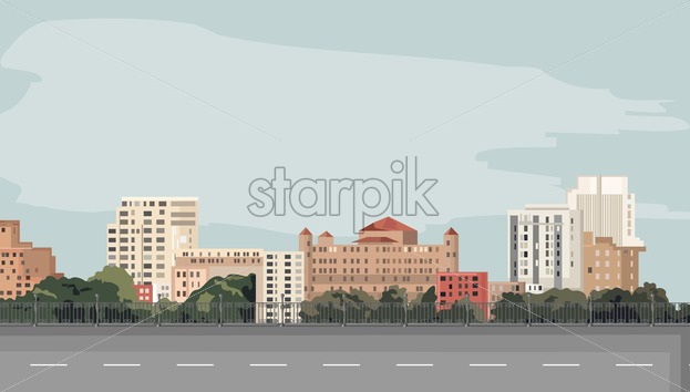 Sorrow City with empty road on foreground. Flat style vector. Place for text in the sky - Starpik Stock