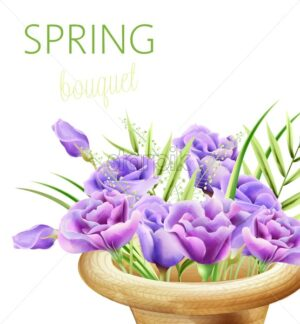 Spring bouquet with watercolor roses in purple color. Composition in a hat. Vector - Starpik Stock
