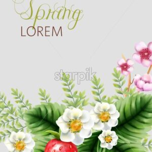 Spring colorful composition with pink blossom flowers, strawberries and green leaves. Vector - Starpik Stock
