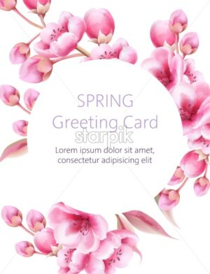 Spring greeting card with watercolor sakura flowers. Circle frame for text. Vector - Starpik Stock