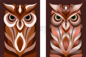 Stencil oriental style abstract owl set in different color variations. Vector - Starpik Stock