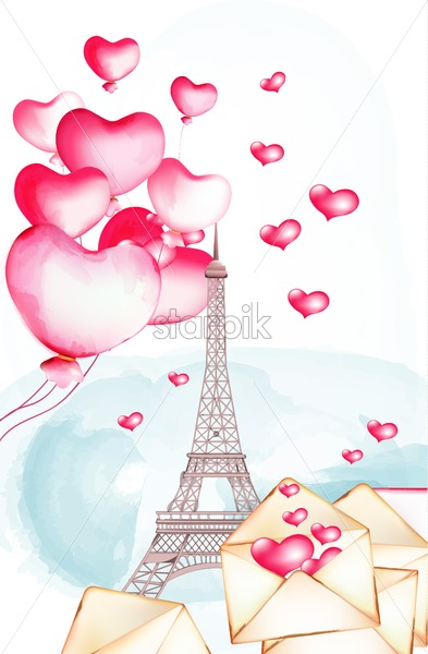 Tour Eiffel with watercolor balloons flying nearby. Love letters opened. Happy valentines day vector - Starpik Stock