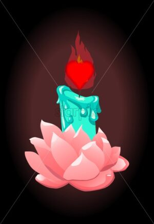 Turquoise candle in rose flower holder with heart shaped wick. Valentines day vectors - Starpik Stock