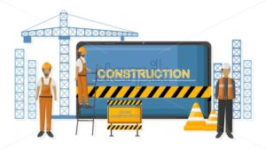 Under construction sign with cranes and workers. Yellow cones and warning tape. Vector - Starpik Stock