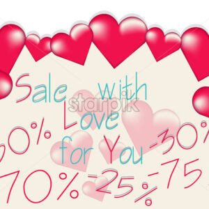 Valentines day sale banner with big rose hearts floating. Vector - Starpik Stock