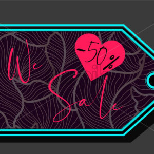 Valentines day sale sign with heart shape and fluid lines ornaments. Vector - Starpik Stock