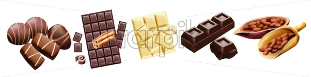 Various types of chocolate and cocoa beans. Candy, white, with cinnamon. Vector - Starpik Stock