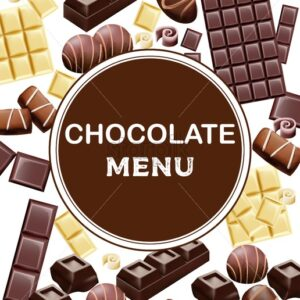 Various types of chocolate and cocoa beans. Place for text. Candy, white, with cinnamon. Vector - Starpik Stock