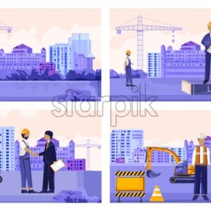Vector set of construction workers with vehicles and buildings. Landlord, stop sign, cranes and contractors. Vector - Starpik Stock