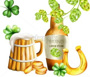 Watercolor beer bottle with green artichoke and shamrock decorations. Wood mug with foam. Gold coins and horseshoe. Holiday vector - Starpik Stock