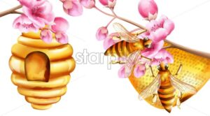 Watercolor bees building a honeycomb on sakura tree branches. Vector - Starpik Stock