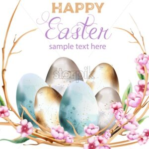 Watercolor blue and yellow eggs with spring blossom flowers wreath. Happy Easter vector - Starpik Stock