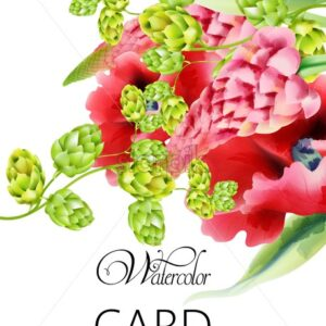 Watercolor card with artichoke and poppy flowers with green leaves. Vector - Starpik Stock