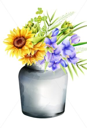 Watercolor ceramic vase with sunflowers, morning glory and artichoke, green leaves. Spring vector - Starpik Stock